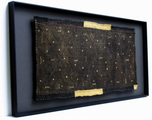 Antique tribal textile, float mounted on a black mat board, and framed in a hand-finished, charcoal-stained Acme Wedge frame. Acme Framing have extensive experience working with