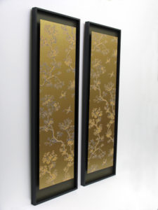 Photo of Embroidered silk brocade panels in black frames